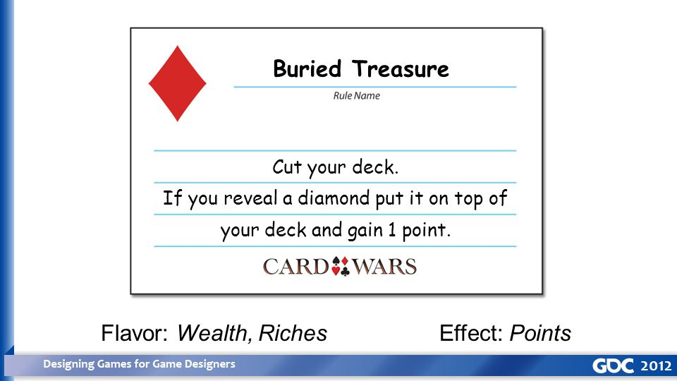 Buried Treasure Flavor: Wealth, RichesEffect: Points Cut your deck.