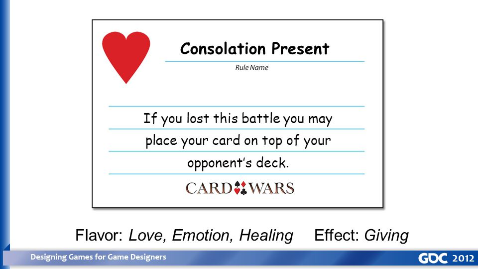 Consolation Present If you lost this battle you may place your card on top of your opponent's deck.