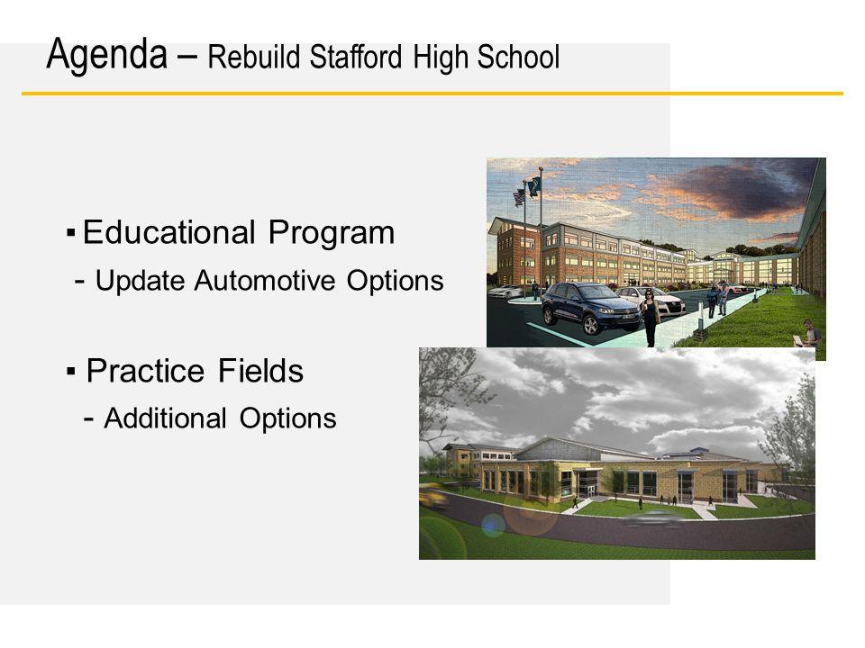 Date ▪ Educational Program - Update Automotive Options ▪ Practice Fields - Additional Options Agenda – Rebuild Stafford High School