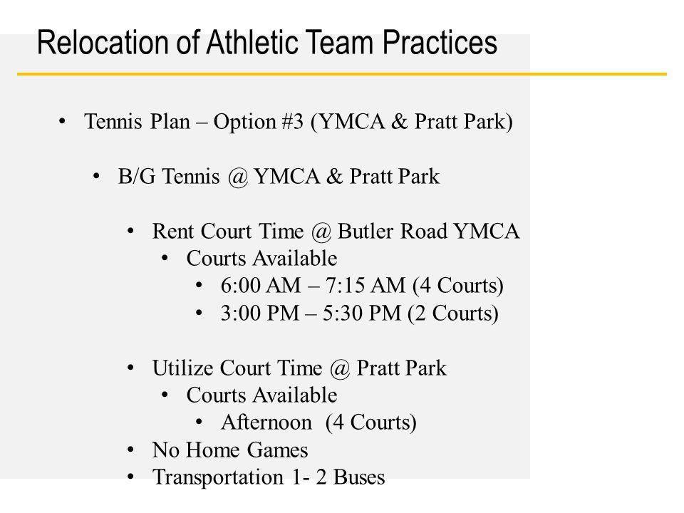 Date Relocation of Athletic Team Practices Tennis Plan – Option #3 (YMCA & Pratt Park) B/G Tennis @ YMCA & Pratt Park Rent Court Time @ Butler Road YM
