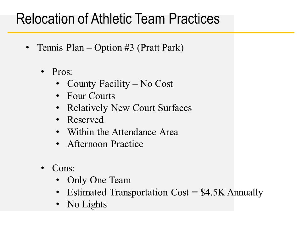 Date Relocation of Athletic Team Practices Tennis Plan – Option #3 (Pratt Park) Pros: County Facility – No Cost Four Courts Relatively New Court Surfaces Reserved Within the Attendance Area Afternoon Practice Cons: Only One Team Estimated Transportation Cost = $4.5K Annually No Lights