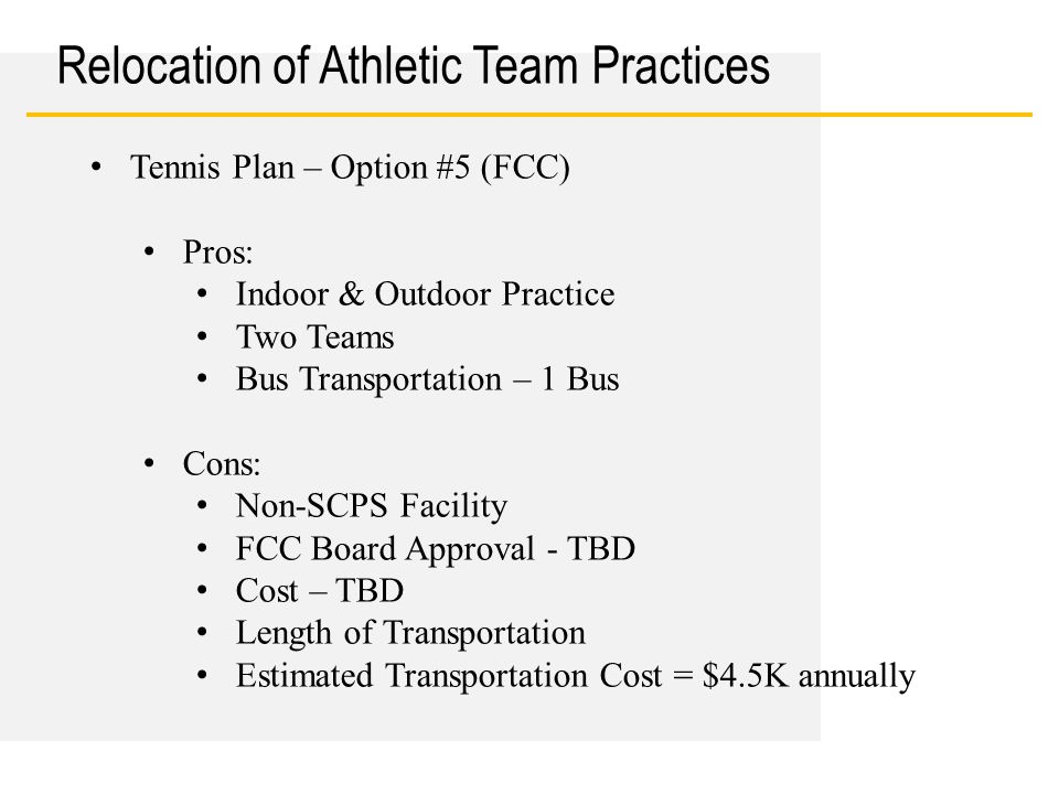 Date Relocation of Athletic Team Practices Tennis Plan – Option #5 (FCC) Pros: Indoor & Outdoor Practice Two Teams Bus Transportation – 1 Bus Cons: No