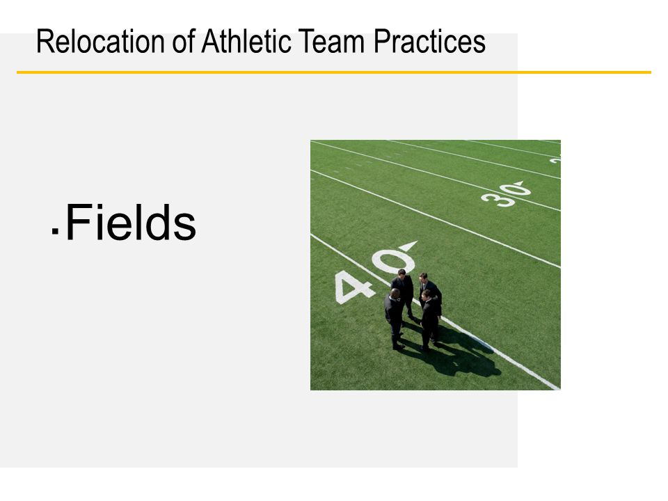 Date Relocation of Athletic Team Practices ▪ Fields