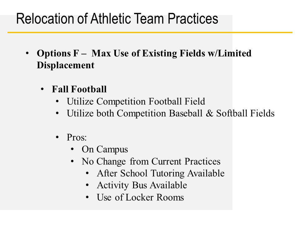Date Relocation of Athletic Team Practices Options F – Max Use of Existing Fields w/Limited Displacement Fall Football Utilize Competition Football Field Utilize both Competition Baseball & Softball Fields Pros: On Campus No Change from Current Practices After School Tutoring Available Activity Bus Available Use of Locker Rooms