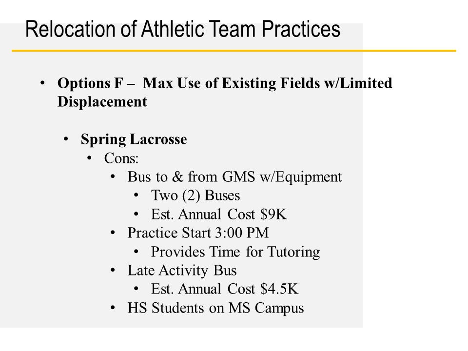Date Relocation of Athletic Team Practices Options F – Max Use of Existing Fields w/Limited Displacement Spring Lacrosse Cons: Bus to & from GMS w/Equ