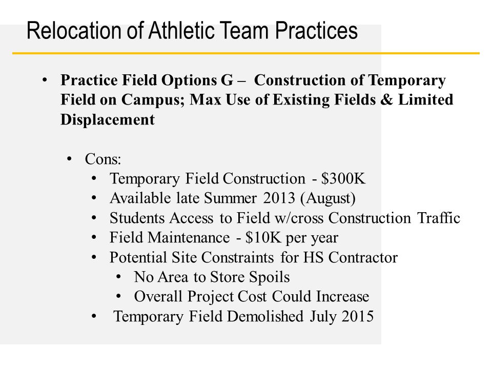 Date Relocation of Athletic Team Practices Practice Field Options G – Construction of Temporary Field on Campus; Max Use of Existing Fields & Limited Displacement Cons: Temporary Field Construction - $300K Available late Summer 2013 (August) Students Access to Field w/cross Construction Traffic Field Maintenance - $10K per year Potential Site Constraints for HS Contractor No Area to Store Spoils Overall Project Cost Could Increase Temporary Field Demolished July 2015
