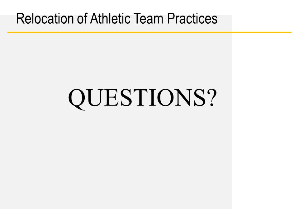 Date Relocation of Athletic Team Practices QUESTIONS?