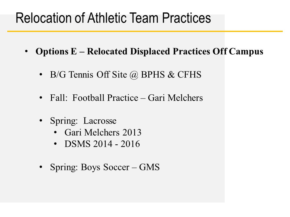 Date Relocation of Athletic Team Practices Options E – Relocated Displaced Practices Off Campus B/G Tennis Off Site @ BPHS & CFHS Fall: Football Practice – Gari Melchers Spring: Lacrosse Gari Melchers 2013 DSMS 2014 - 2016 Spring: Boys Soccer – GMS