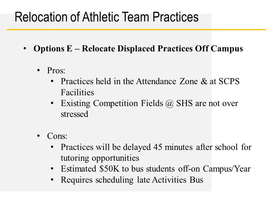 Date Relocation of Athletic Team Practices Options E – Relocate Displaced Practices Off Campus Pros: Practices held in the Attendance Zone & at SCPS F
