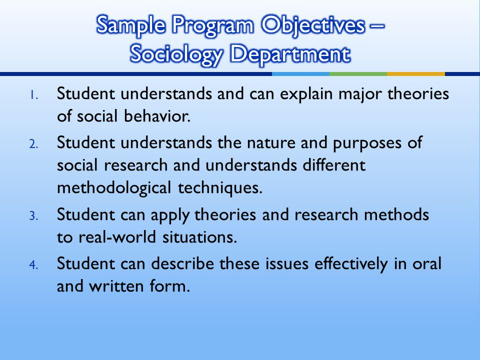 1. Student understands and can explain major theories of social behavior. 2. Student understands the nature and purposes of social research and unders