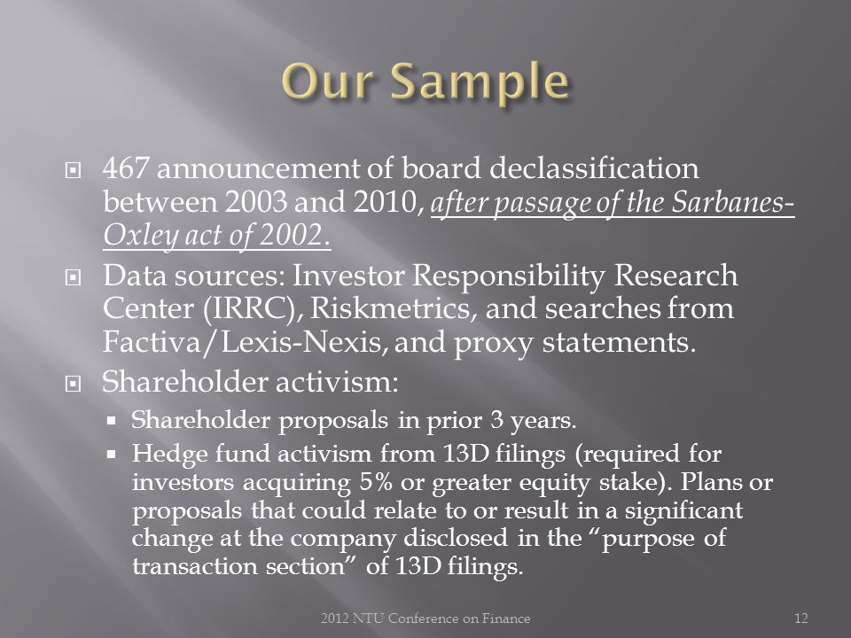  467 announcement of board declassification between 2003 and 2010, after passage of the Sarbanes- Oxley act of 2002.