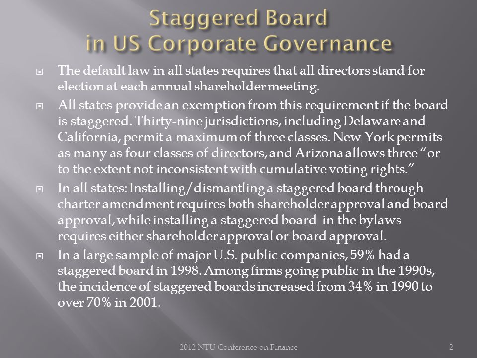  The default law in all states requires that all directors stand for election at each annual shareholder meeting.