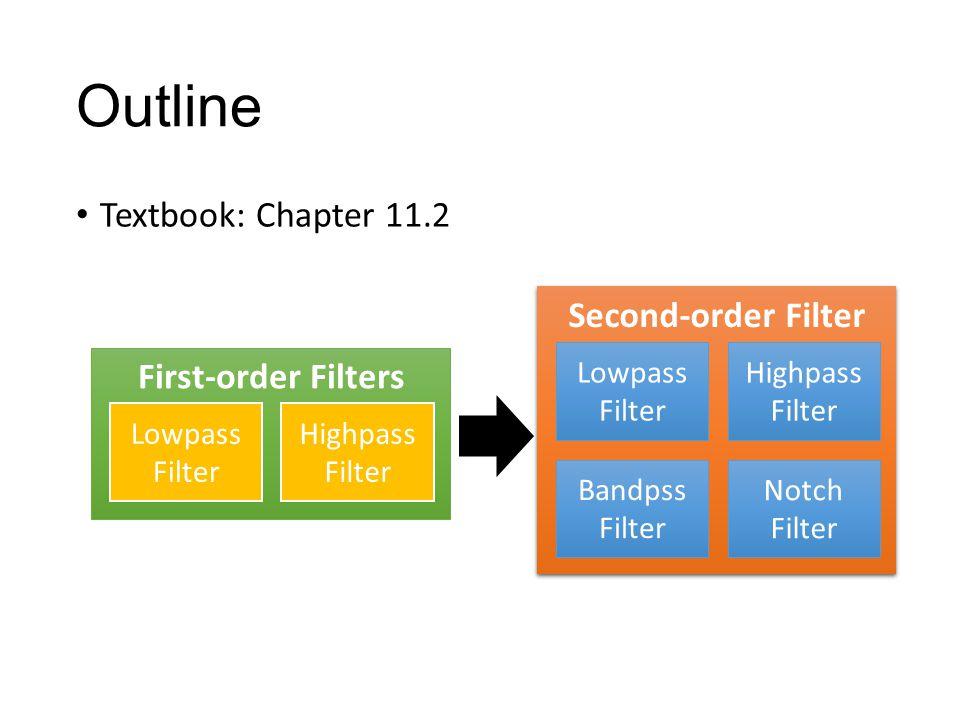 Outline Textbook: Chapter 11.2 Second-order Filter Highpass Filter Lowpass Filter Notch Filter Bandpss Filter First-order Filters Highpass Filter Lowpass Filter