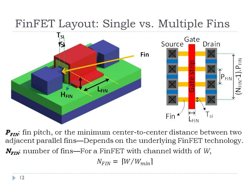 FinFET Layout: Single vs. Multiple Fins 12