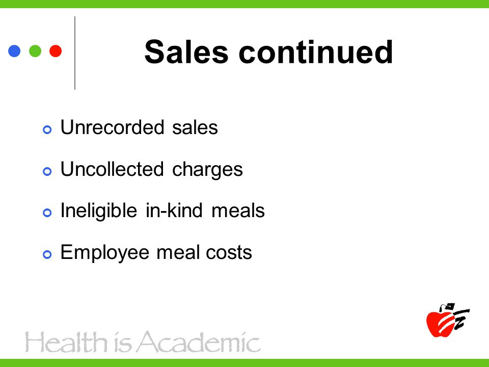 Sales continued Unrecorded sales Uncollected charges Ineligible in-kind meals Employee meal costs