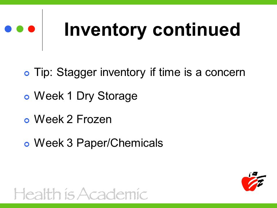 Inventory continued Tip: Stagger inventory if time is a concern Week 1 Dry Storage Week 2 Frozen Week 3 Paper/Chemicals