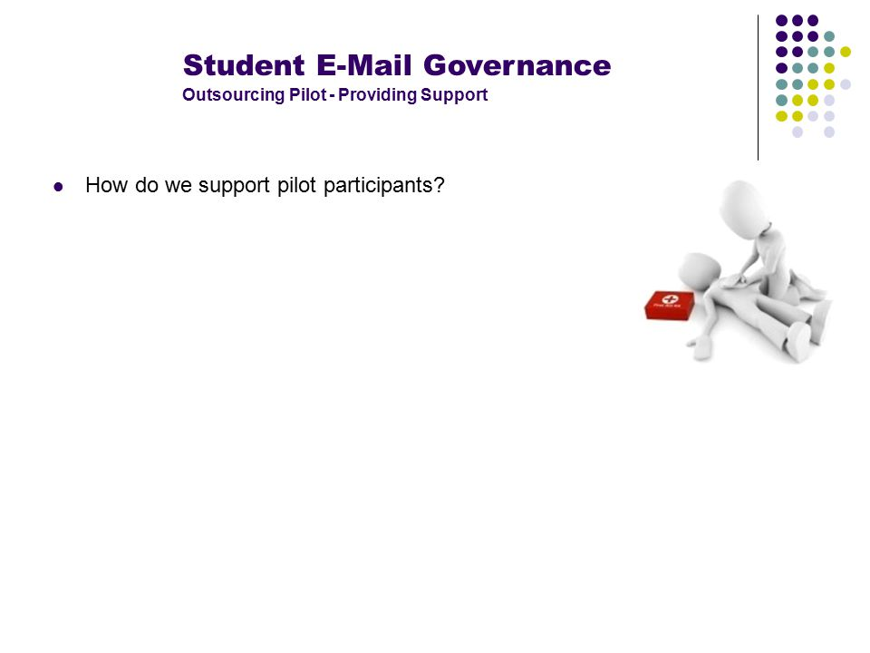 Student E-Mail Governance Outsourcing Pilot - Providing Support How do we support pilot participants