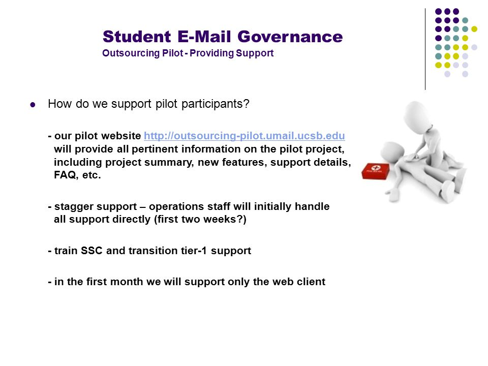 Student E-Mail Governance Outsourcing Pilot - Providing Support How do we support pilot participants.
