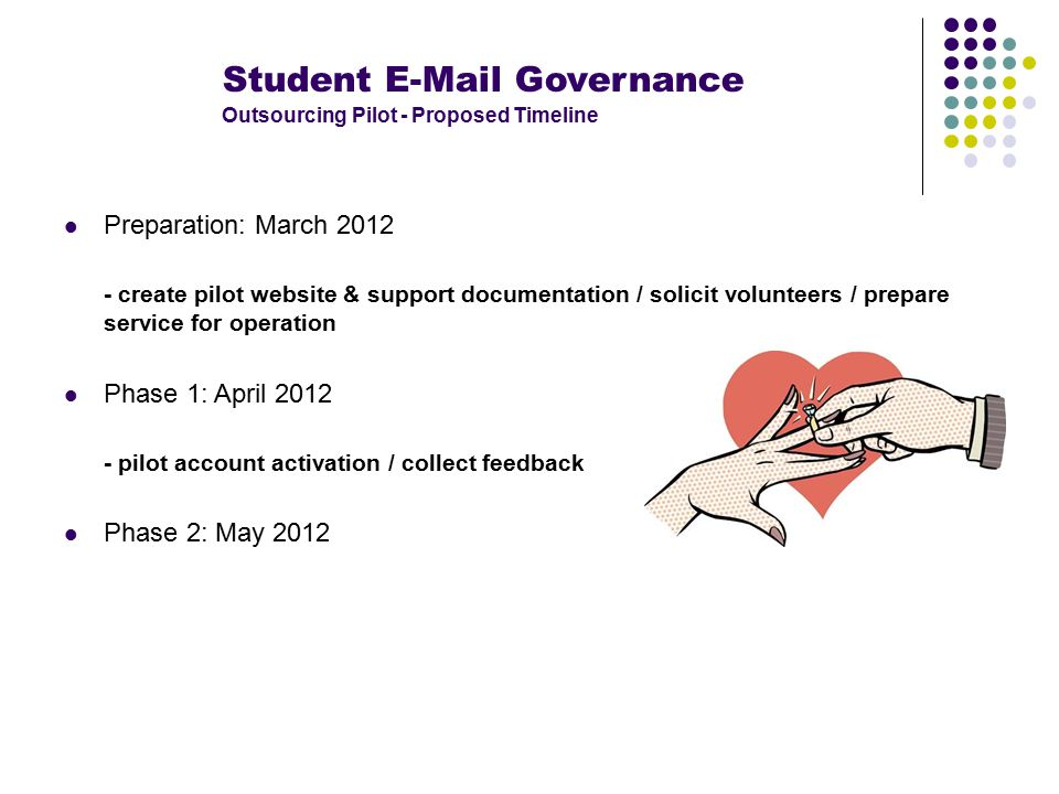 Student E-Mail Governance Outsourcing Pilot - Proposed Timeline Preparation: March 2012 - create pilot website & support documentation / solicit volunteers / prepare service for operation Phase 1: April 2012 - pilot account activation / collect feedback Phase 2: May 2012