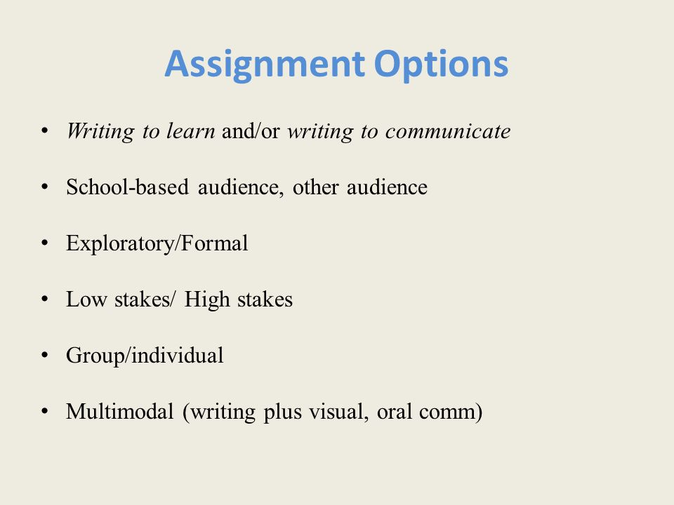 Assignment Options Writing to learn and/or writing to communicate School-based audience, other audience Exploratory/Formal Low stakes/ High stakes Group/individual Multimodal (writing plus visual, oral comm)