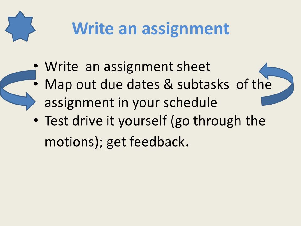 Write an assignment Write an assignment sheet Map out due dates & subtasks of the assignment in your schedule Test drive it yourself (go through the motions); get feedback.