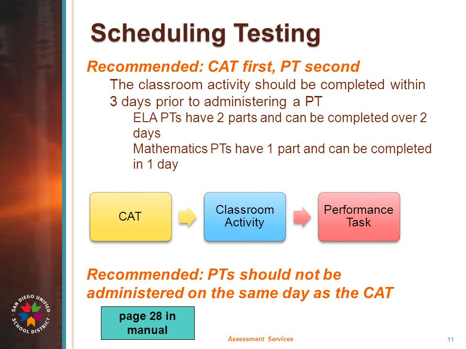 Scheduling Testing Recommended: CAT first, PT second The classroom activity should be completed within 3 days prior to administering a PT ELA PTs have