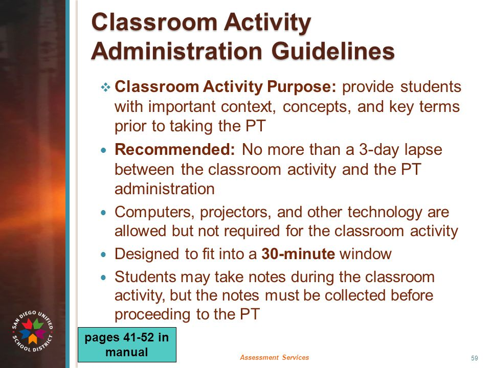  Classroom Activity Purpose: provide students with important context, concepts, and key terms prior to taking the PT Recommended: No more than a 3-da