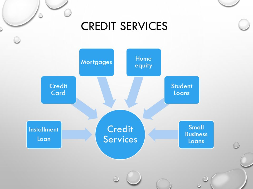 CREDIT SERVICES Credit Services Installment Loan Credit Card Mortgages Home equity Student Loans Small Business Loans