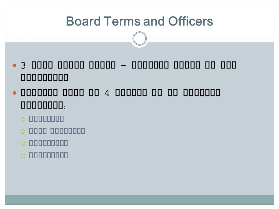 Board Terms and Officers 3 year board terms – stagger terms in the beginning Officer Team of 4 person to be elected annually :  Chairman  Vice Chair