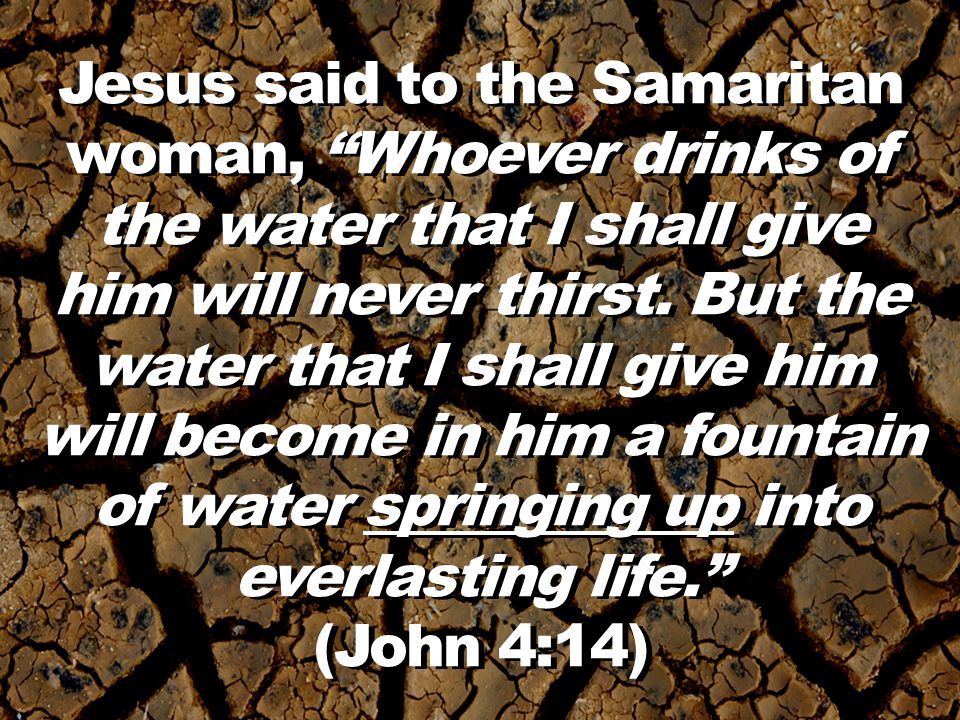 Jesus said to the Samaritan woman, Whoever drinks of the water that I shall give him will never thirst.