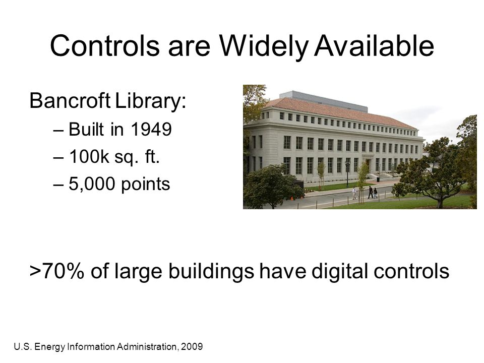Controls are Widely Available Bancroft Library: –Built in 1949 –100k sq.