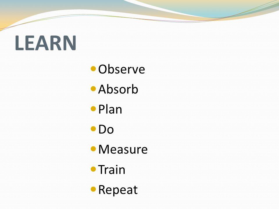 LEARN Observe Absorb Plan Do Measure Train Repeat