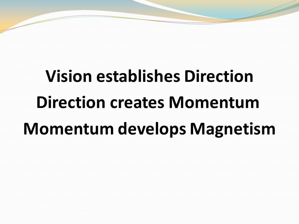 Vision establishes Direction Direction creates Momentum Momentum develops Magnetism