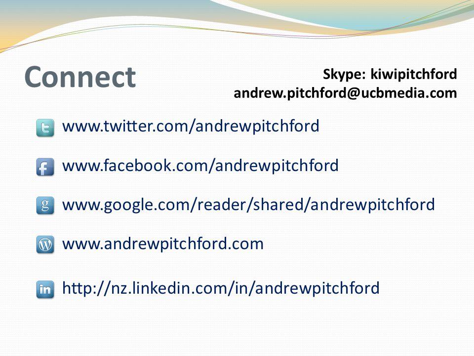 Connect www.twitter.com/andrewpitchford www.facebook.com/andrewpitchford www.google.com/reader/shared/andrewpitchford www.andrewpitchford.com http://n