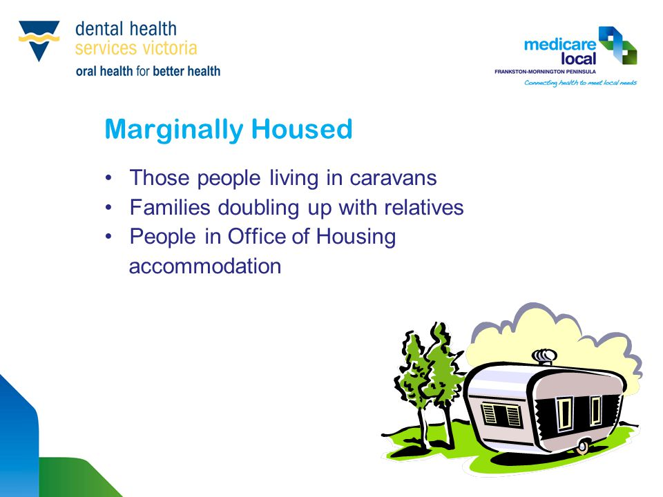 Marginally Housed Those people living in caravans Families doubling up with relatives People in Office of Housing accommodation