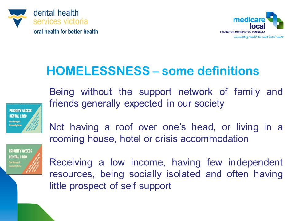 HOMELESSNESS – some definitions Being without the support network of family and friends generally expected in our society Not having a roof over one's