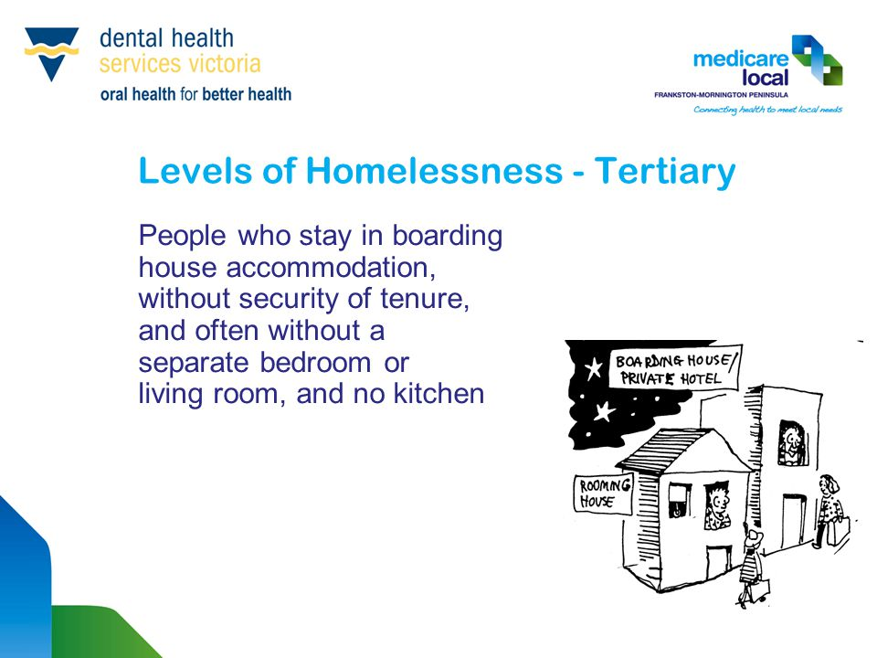 Levels of Homelessness - Tertiary People who stay in boarding house accommodation, without security of tenure, and often without a separate bedroom or