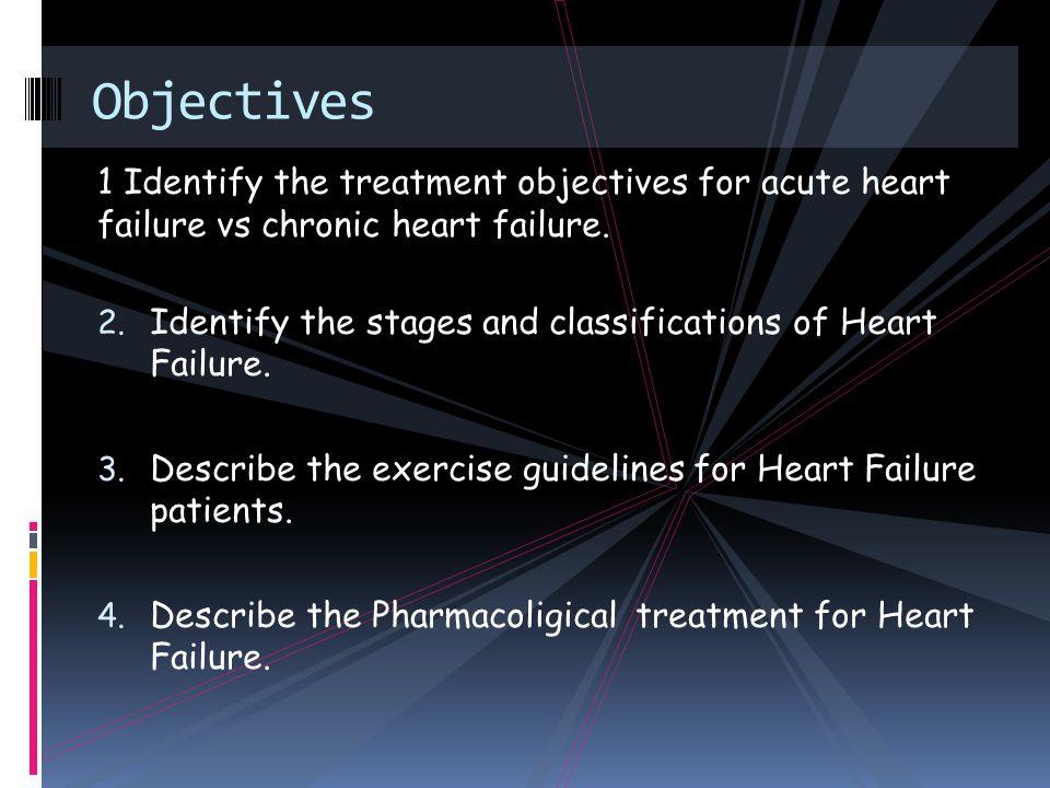 1 Identify the treatment objectives for acute heart failure vs chronic heart failure.