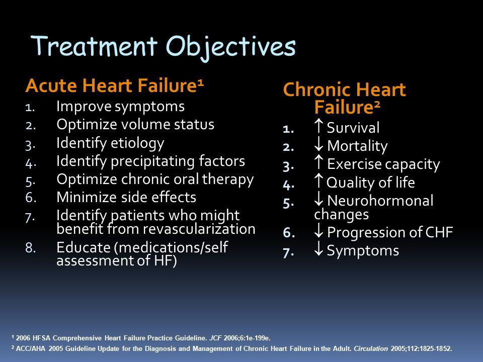 Treatment Objectives Chronic Heart Failure 2 1.  Survival 2.