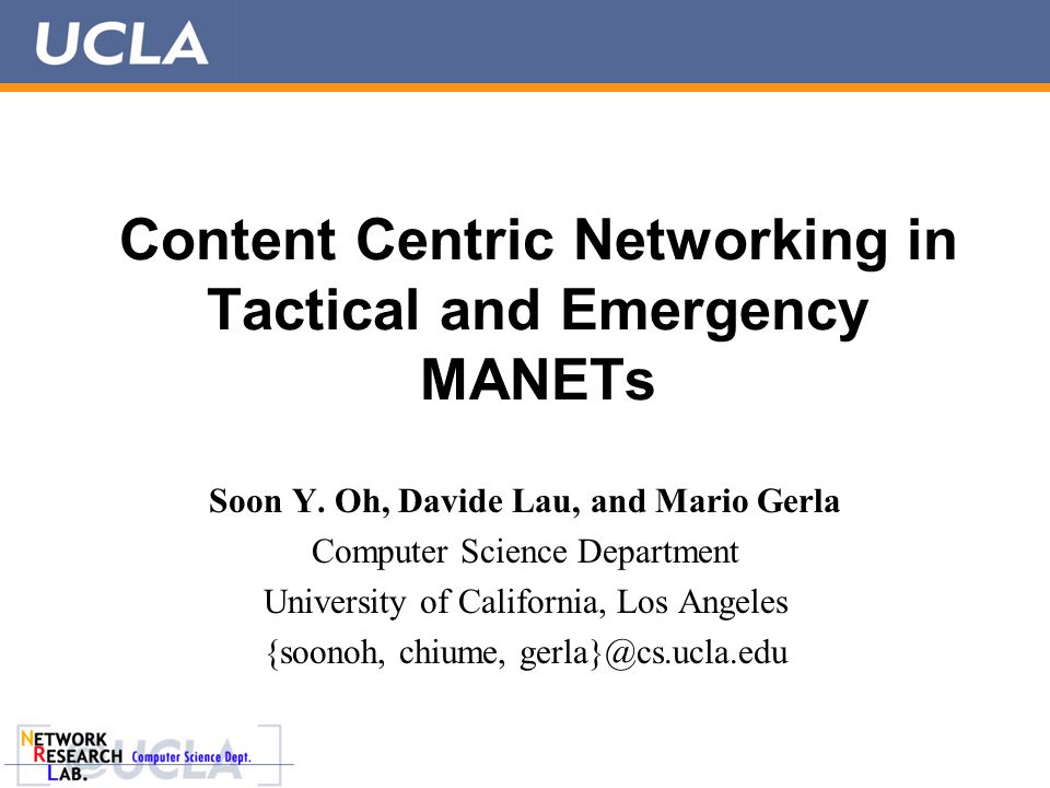 Introduction  Infrastructureless nature and quick deployment  a MANET is ideally suited for emergency & tactical operation, but  Challenging environments  Lossy channel and high mobility  Limited resources  Hard to find necessary content  No search engine  Scalable & efficient content search and dissemination in MANETs  Content Centric Networking 2