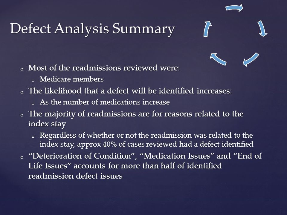 o Most of the readmissions reviewed were: o Medicare members o The likelihood that a defect will be identified increases: o As the number of medications increase o The majority of readmissions are for reasons related to the index stay o Regardless of whether or not the readmission was related to the index stay, approx 40% of cases reviewed had a defect identified o Deterioration of Condition , Medication Issues and End of Life Issues accounts for more than half of identified readmission defect issues Defect Analysis Summary
