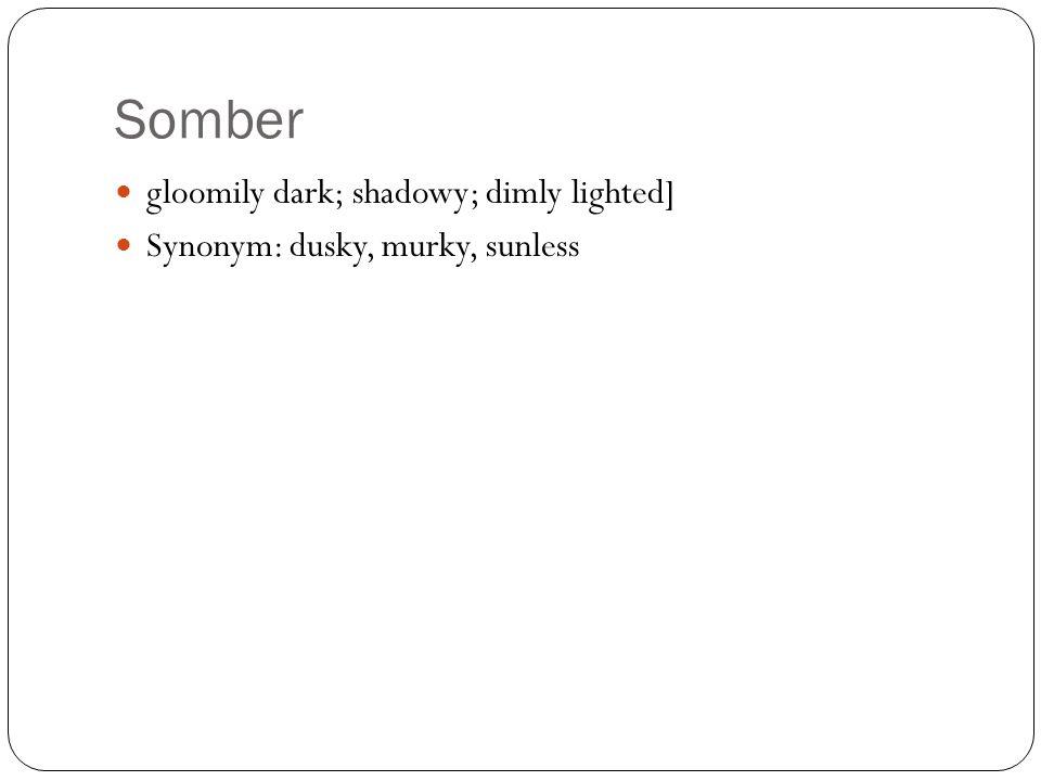 Somber gloomily dark; shadowy; dimly lighted] Synonym: dusky, murky, sunless