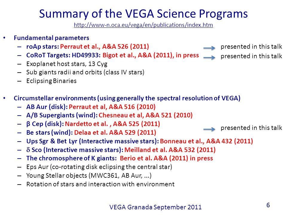 Summary of the VEGA Science Programs http://www-n.oca.eu/vega/en/publications/index.htm Fundamental parameters – roAp stars: Perraut et al., A&A 526 (