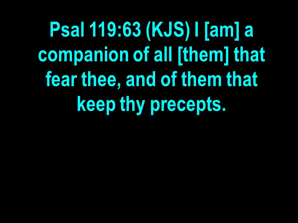 Psal 119:63 (KJS) I [am] a companion of all [them] that fear thee, and of them that keep thy precepts.