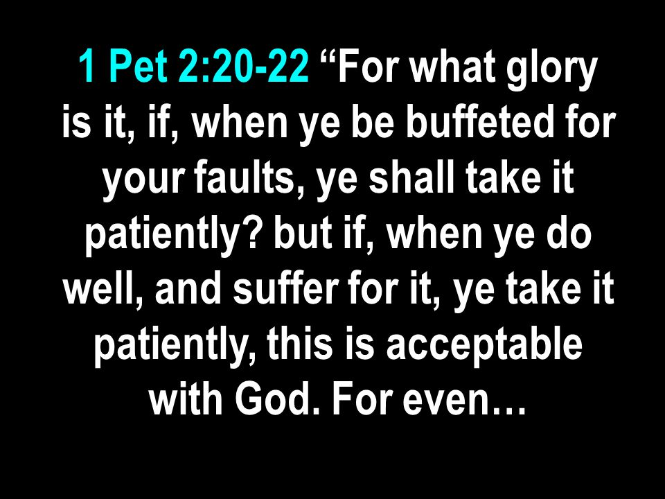 1 Pet 2:20-22 For what glory is it, if, when ye be buffeted for your faults, ye shall take it patiently.