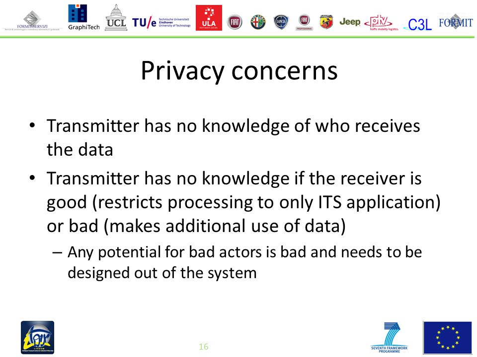 16 Privacy concerns Transmitter has no knowledge of who receives the data Transmitter has no knowledge if the receiver is good (restricts processing to only ITS application) or bad (makes additional use of data) – Any potential for bad actors is bad and needs to be designed out of the system