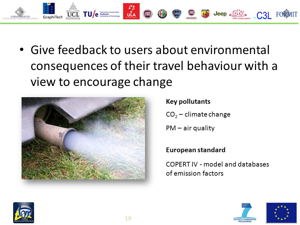 19 Give feedback to users about environmental consequences of their travel behaviour with a view to encourage change CO 2 – climate change PM – air quality European standard Key pollutants COPERT IV - model and databases of emission factors