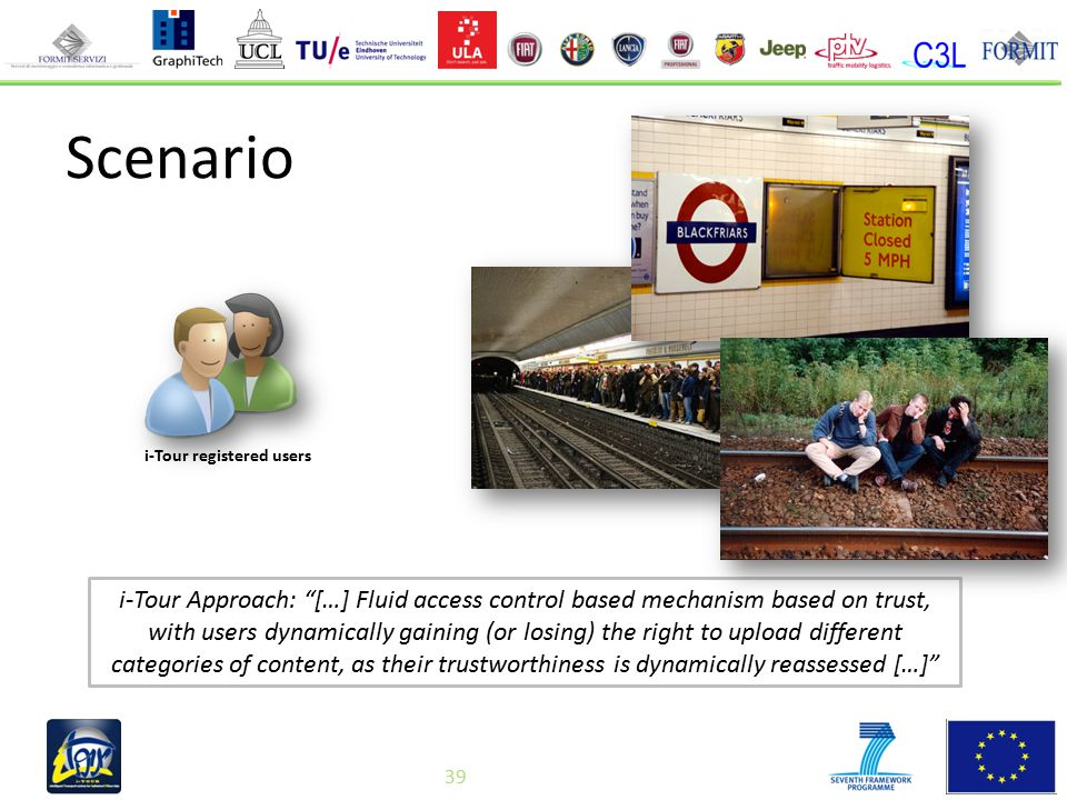 39 Scenario i-Tour Approach: […] Fluid access control based mechanism based on trust, with users dynamically gaining (or losing) the right to upload different categories of content, as their trustworthiness is dynamically reassessed […] i-Tour registered users