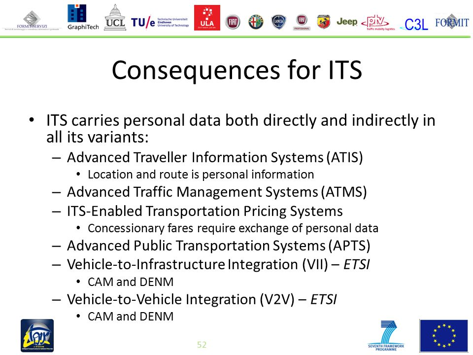 52 Consequences for ITS ITS carries personal data both directly and indirectly in all its variants: – Advanced Traveller Information Systems (ATIS) Location and route is personal information – Advanced Traffic Management Systems (ATMS) – ITS-Enabled Transportation Pricing Systems Concessionary fares require exchange of personal data – Advanced Public Transportation Systems (APTS) – Vehicle-to-Infrastructure Integration (VII) – ETSI CAM and DENM – Vehicle-to-Vehicle Integration (V2V) – ETSI CAM and DENM 52