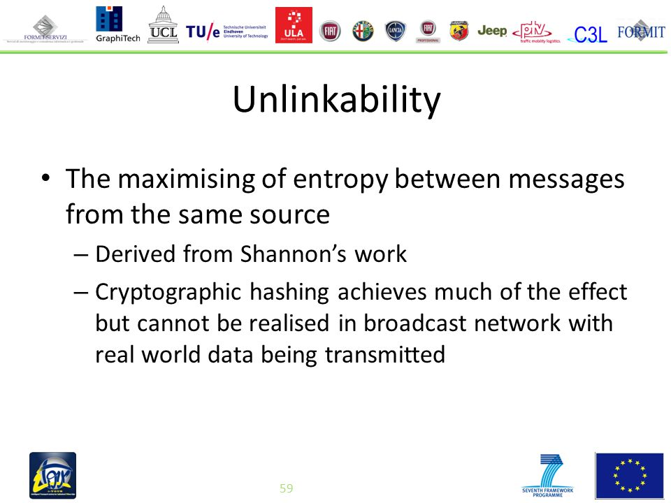 59 Unlinkability The maximising of entropy between messages from the same source – Derived from Shannon's work – Cryptographic hashing achieves much of the effect but cannot be realised in broadcast network with real world data being transmitted